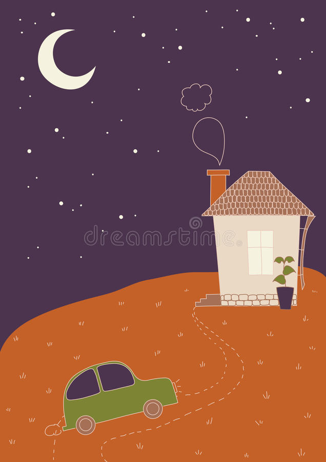 Retours au pays tard la nuit illustration de vecteur