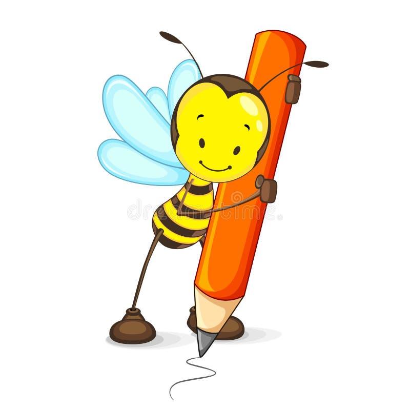 Retrait d'abeille avec le crayon illustration de vecteur