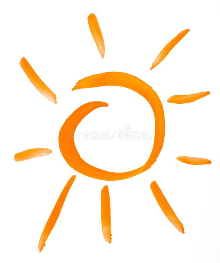 Retrait d'aquarelle de Sun. sur le papier illustration stock