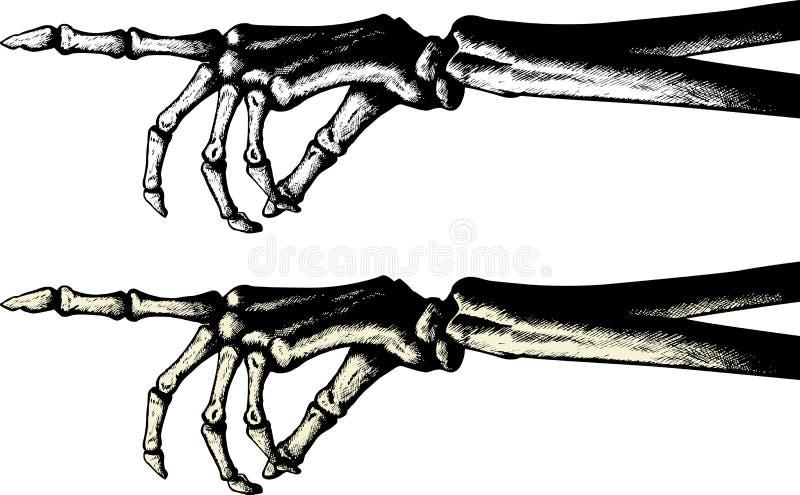 Retrait d'encre d'une main squelettique de pointage illustration de vecteur
