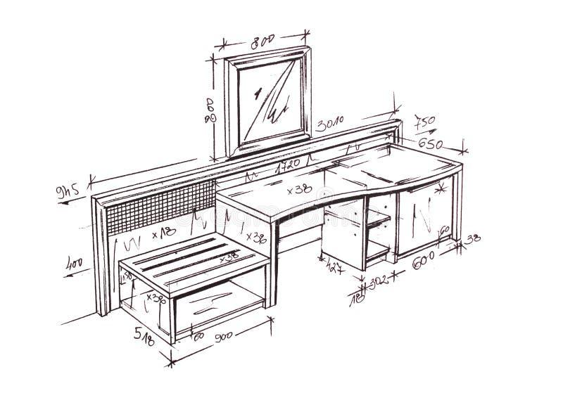 Retrait de dessin main lev e moderne de bureau de for Bureau de conception