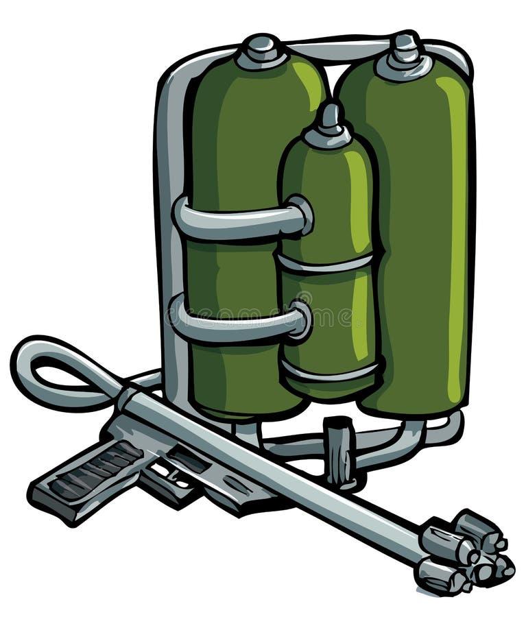 Retrait de dessin animé de lanceur de flamme illustration de vecteur