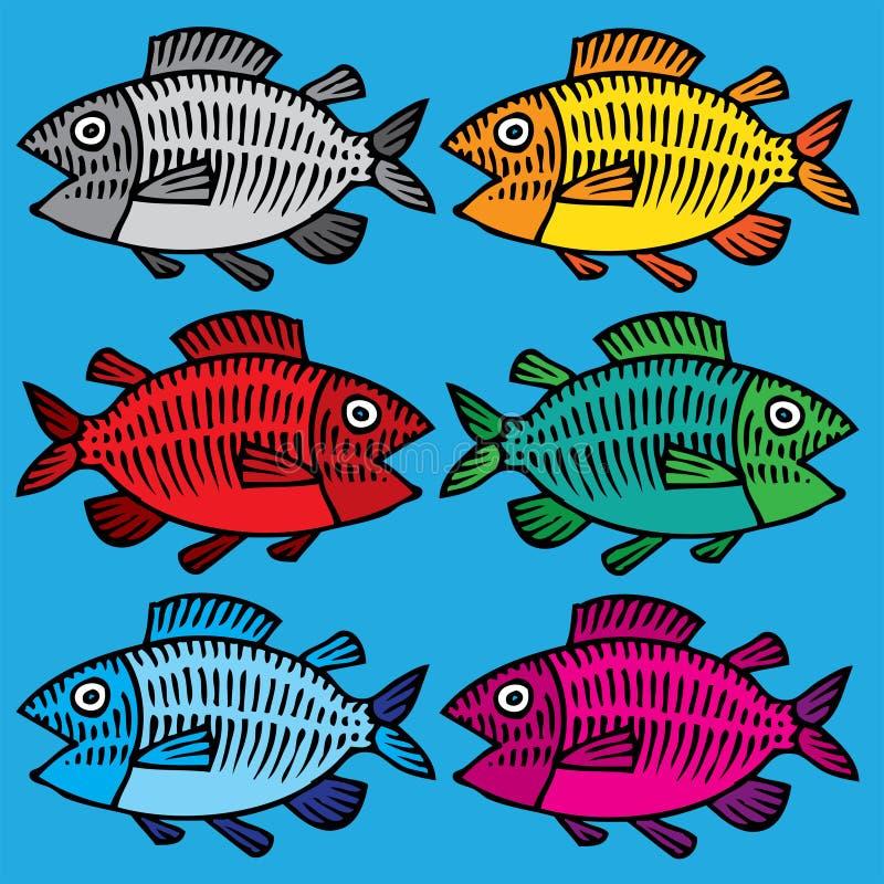 Retrait de main de poissons coloré illustration stock