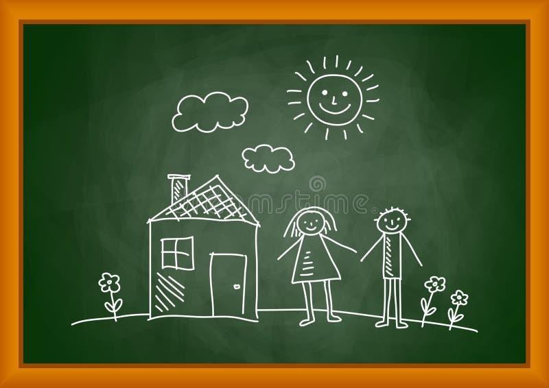 Retrait de maison et d'enfants illustration stock