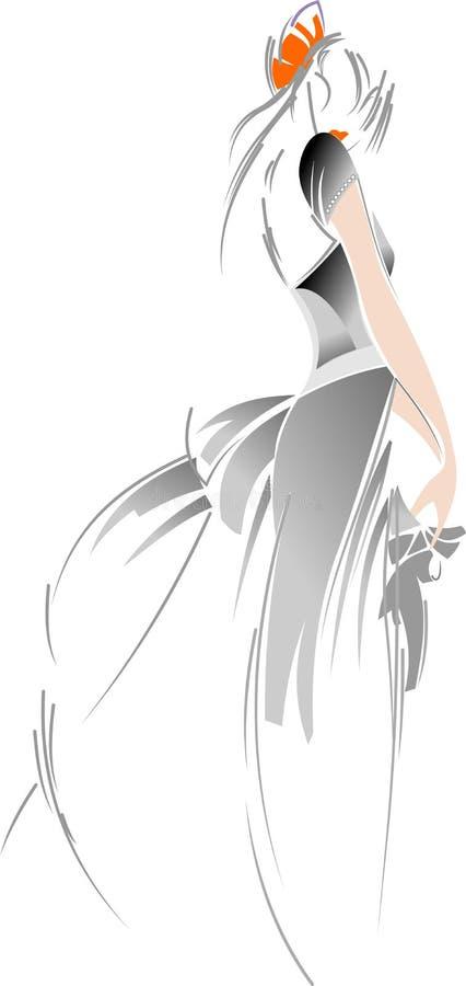 Retrait de mariée de mode. illustration stock