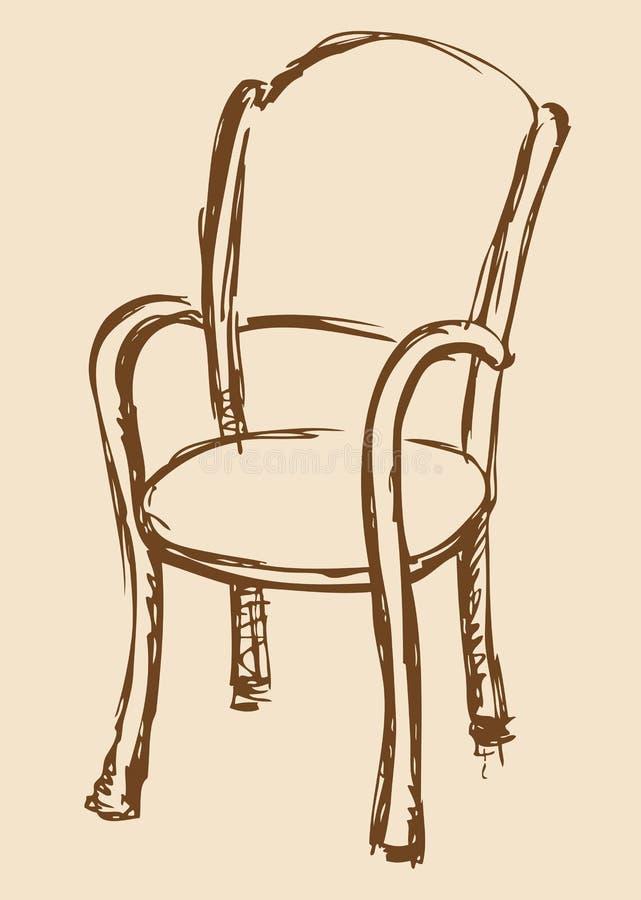 Retrait de vecteur Chaise en bois avec des accoudoirs illustration stock