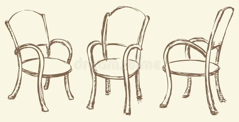 Retrait de vecteur chaises en bois avec des accoudoirs - Mesas para dibujar ...
