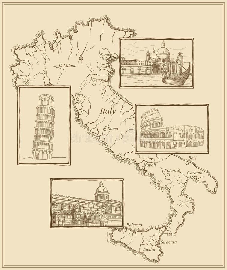 Retrait stylisé d'encre de vieille carte de l'Italie images stock