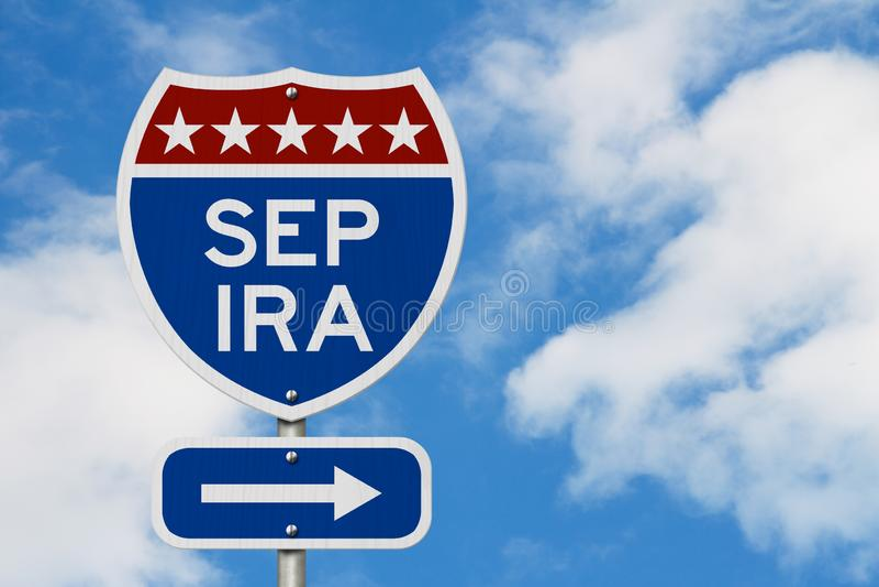 Retraite avec l'itinéraire de plan de SEPT IRA sur un panneau routier de route des Etats-Unis photographie stock libre de droits