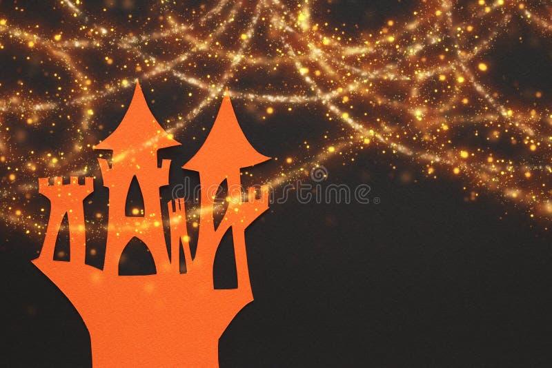 Retranchez-vous au-dessus du fond de papier noir et des lumières d'or rougeoyantes illustration de vecteur