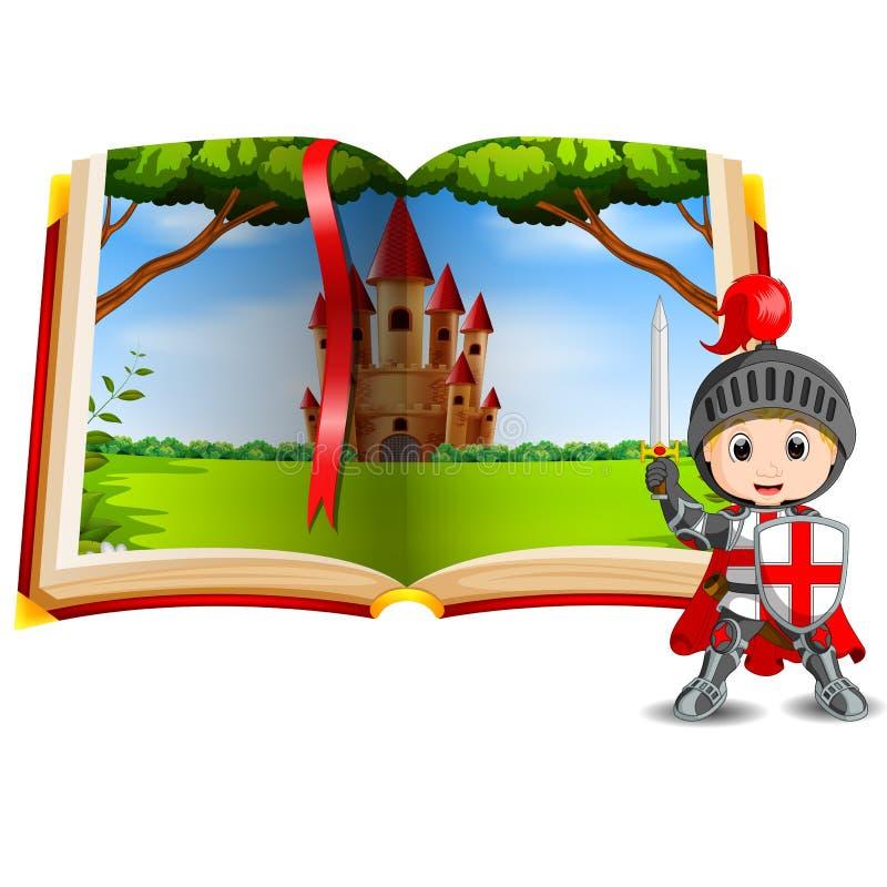 Retranchez-vous le paysage dans le livre et un chevalier illustration de vecteur