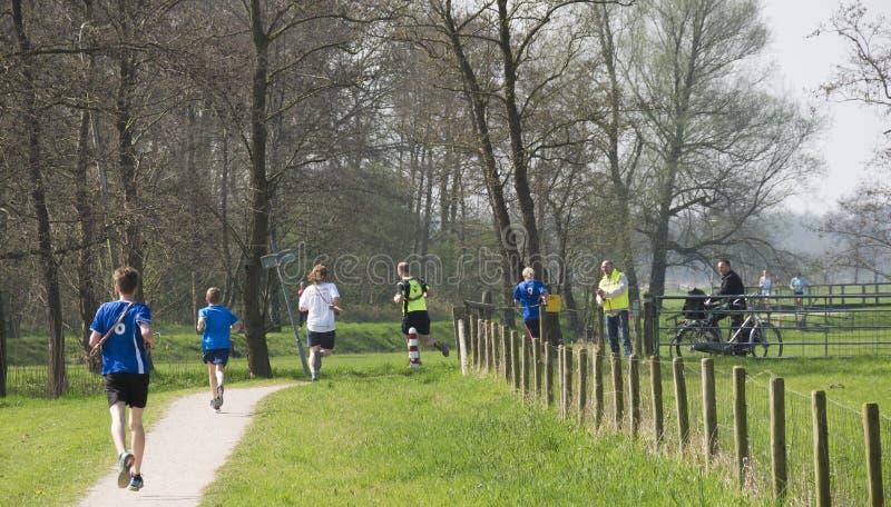 Retransmisión 2017 del maratón de Ekiden Zwolle del arte foto de archivo libre de regalías
