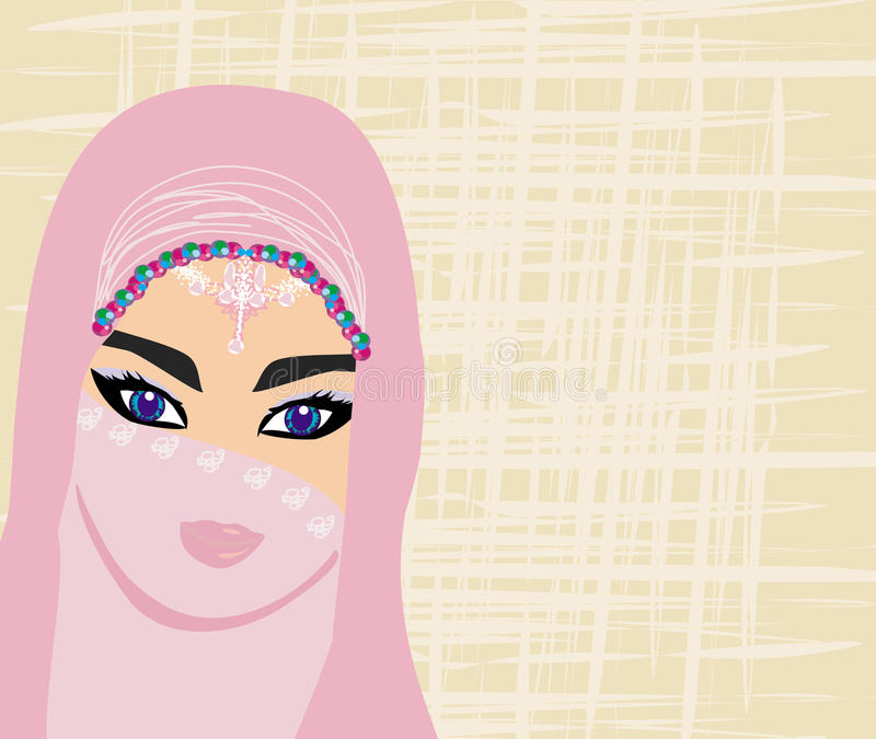 Retrato árabe de la mujer ilustración del vector