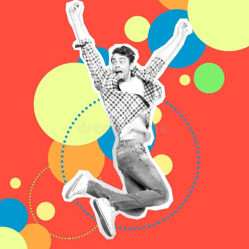Retrato él su él salto del individuo arriba que acomete el dril de algodón casual de los vaqueros del diseño estilizado futurista fotografía de archivo libre de regalías