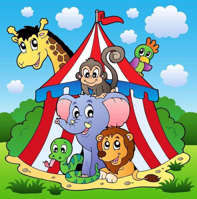 Retrato 1 do tema do circo ilustração do vetor