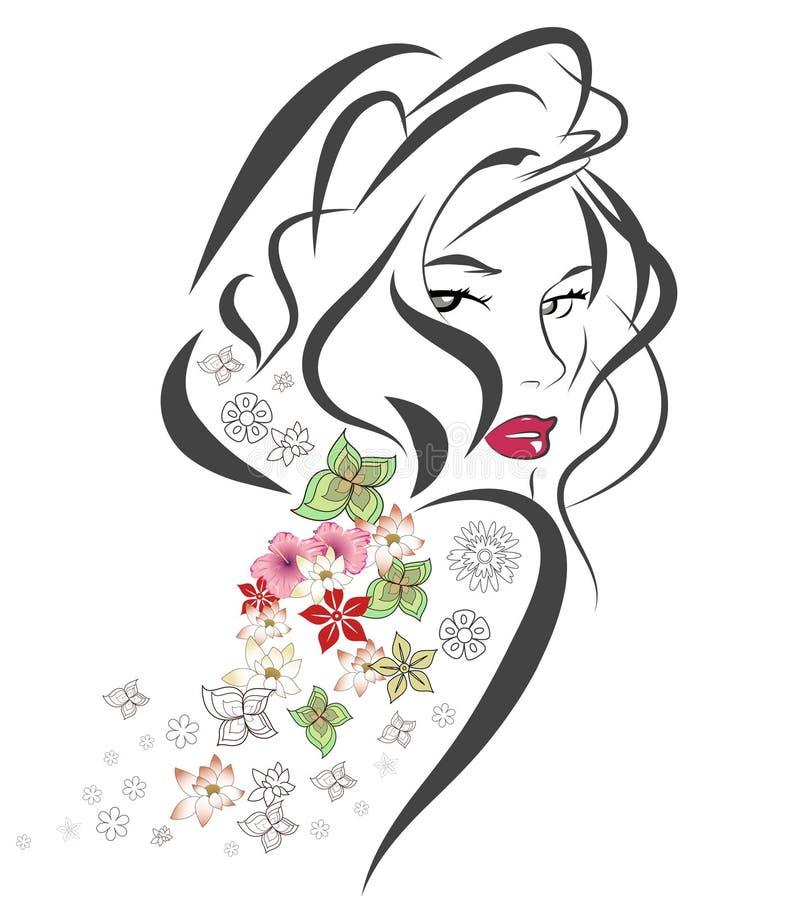 Retrato abstracto de la mujer stock de ilustración