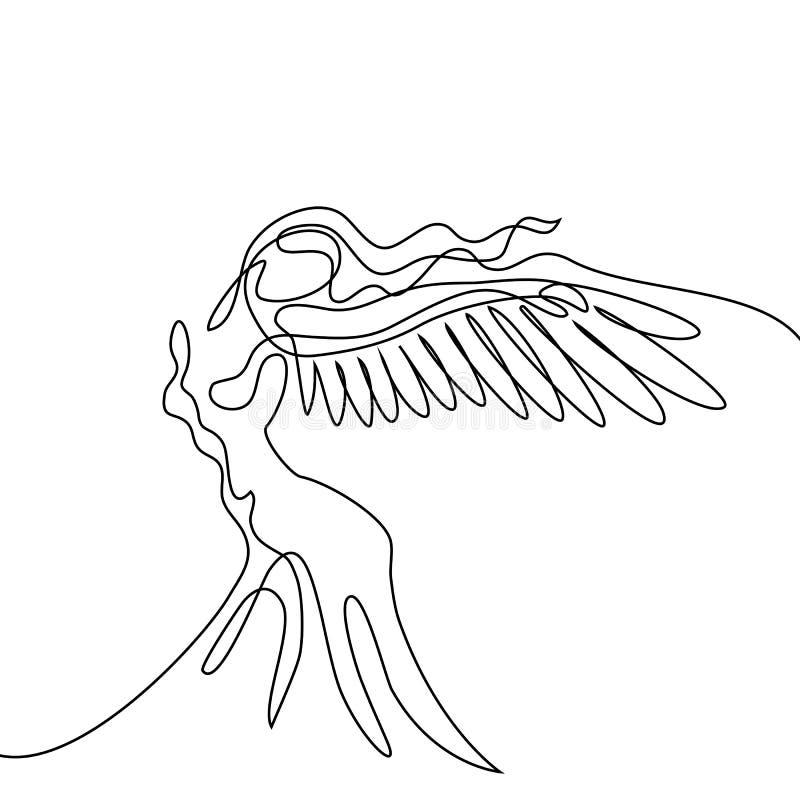 Retrato abstracto de la mujer del ángel con las alas stock de ilustración
