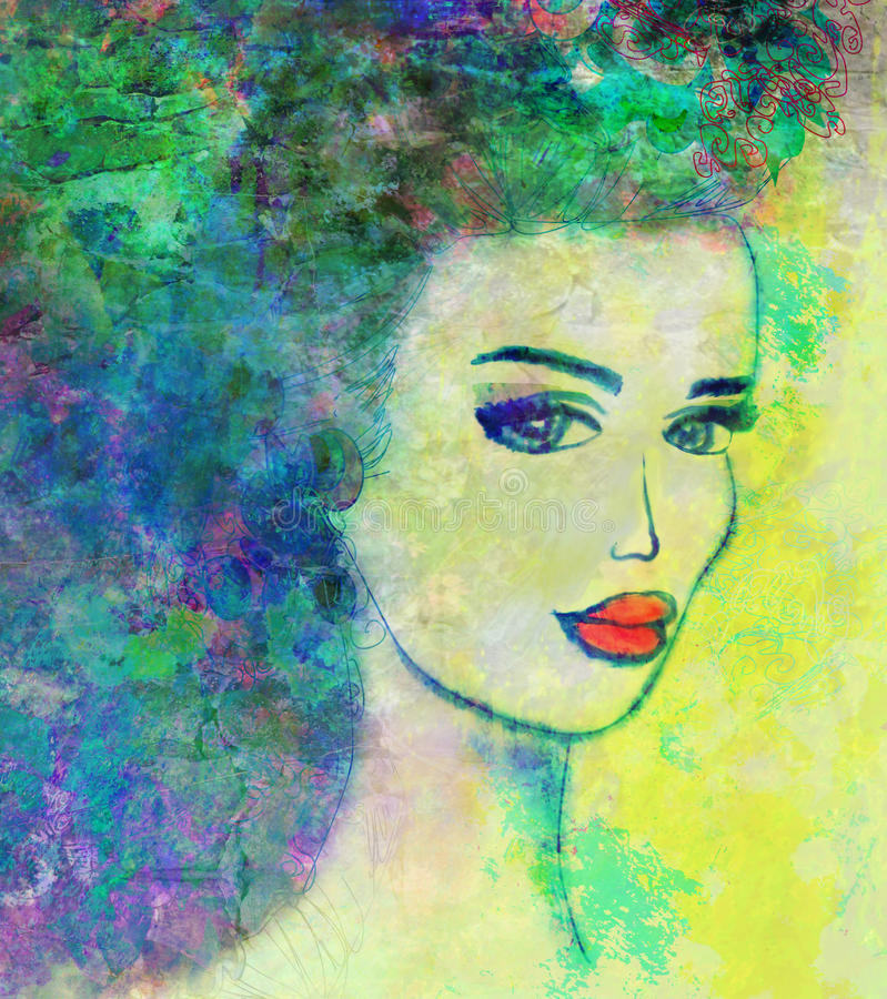 Retrato abstracto de la mujer del grunge stock de ilustración