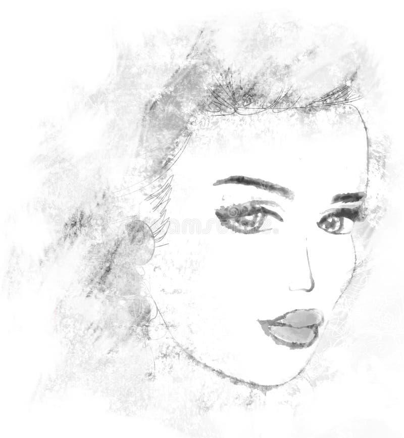 Retrato abstracto de la mujer del grunge ilustración del vector