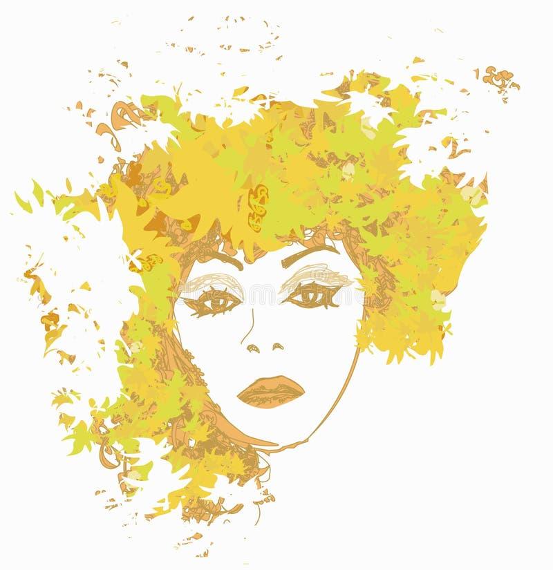 Retrato abstracto de la mujer del otoño libre illustration