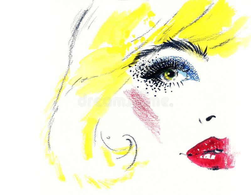 Retrato abstracto de la mujer Fondo de la manera stock de ilustración