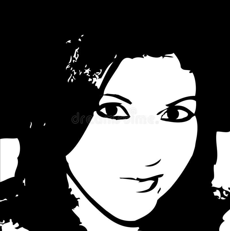 Retrato abstrato da ilustração da mulher ilustração royalty free