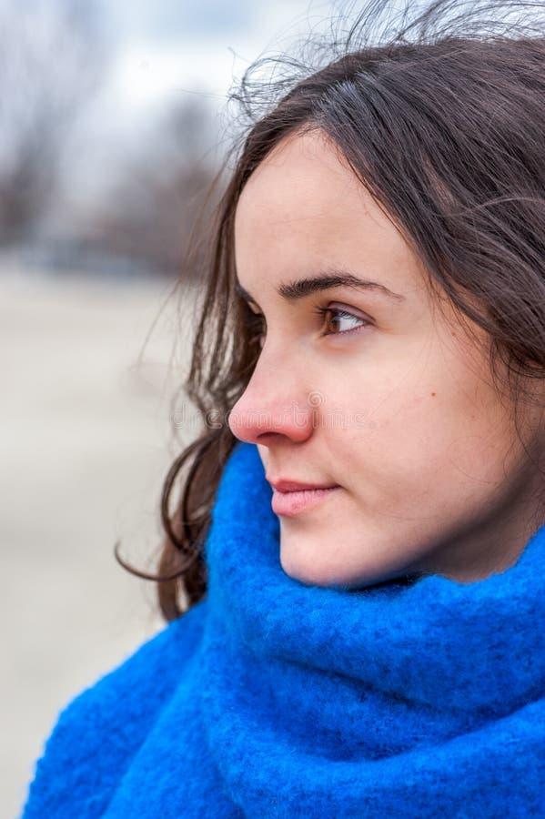 Retrato abstrato da menina bonita nova com os olhos tristes e adoráveis com olhar sensível no dia frio e no lenço azul extremamen imagem de stock royalty free
