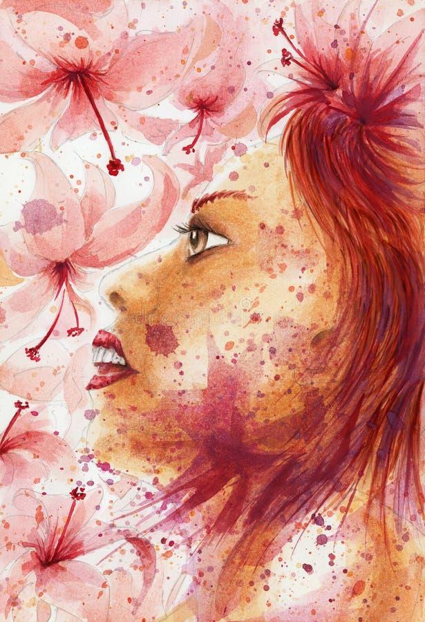 Retrato abstrato da mulher do Grunge sobre o fundo florido ilustração do vetor