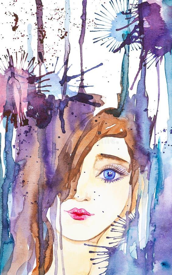 Retrato abstrato de uma moça bonita no fundo das gotas e das manchas Ilustra??o da aquarela isolada no branco ilustração royalty free