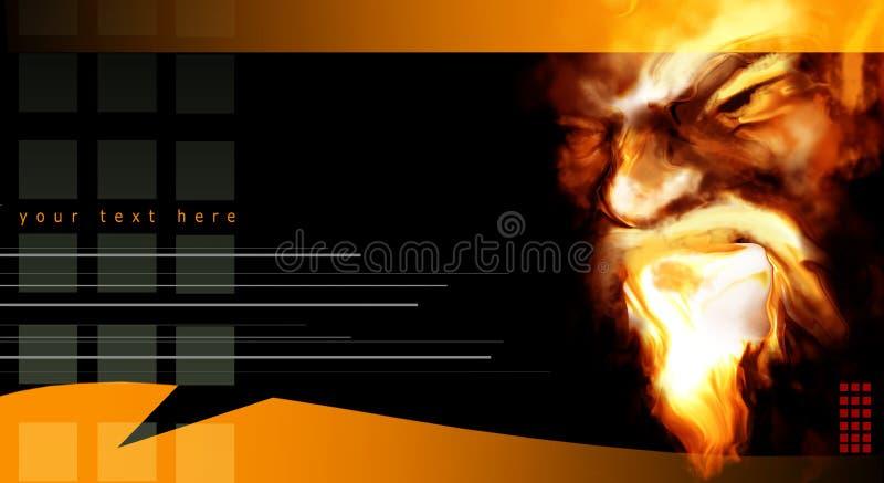 Retrato abstrato nas flamas ilustração stock