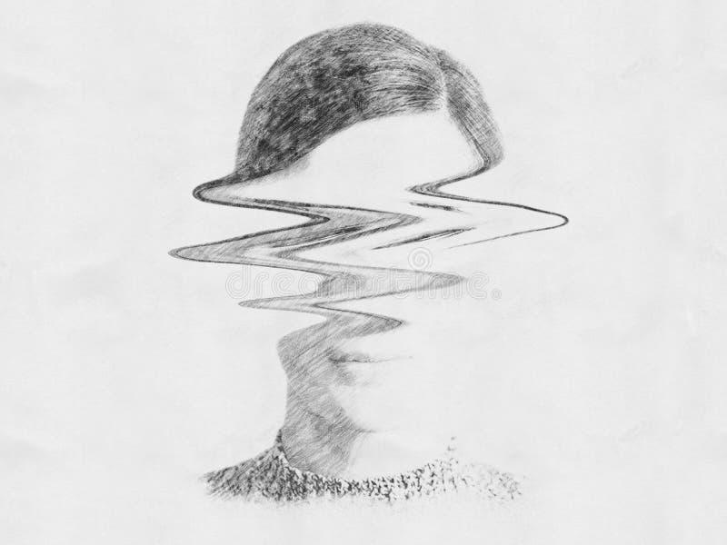Retrato abstrato preto e branco da mulher do desassossego ilustração royalty free
