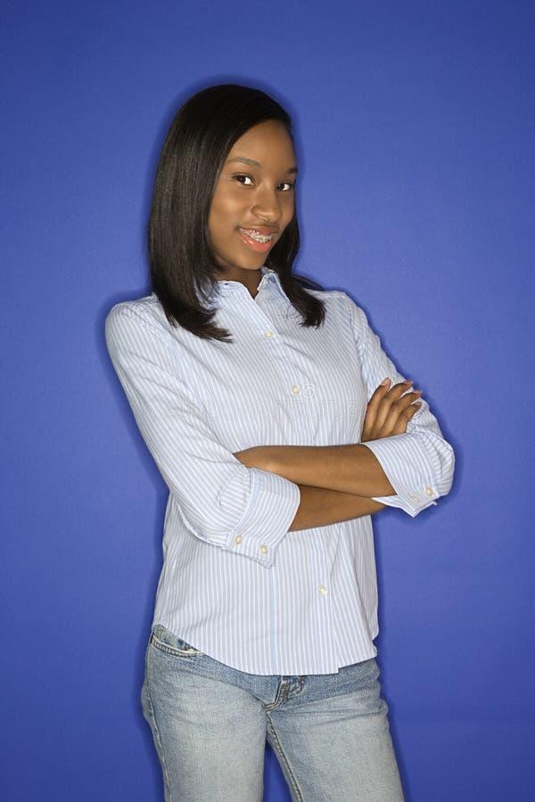 Retrato adolescente da menina do African-American. imagens de stock