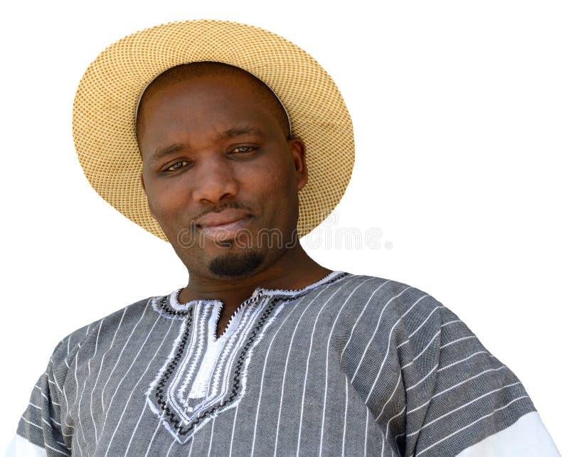 Retrato africano do homem negro no branco fotos de stock royalty free