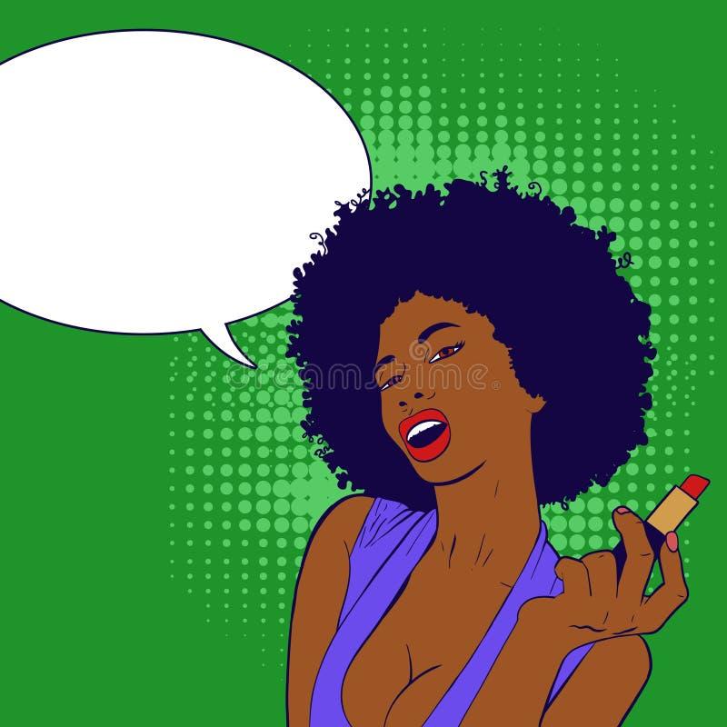 Retrato africano 'sexy' da mulher que faz sua composição Retrato da menina do pop art imagens de stock