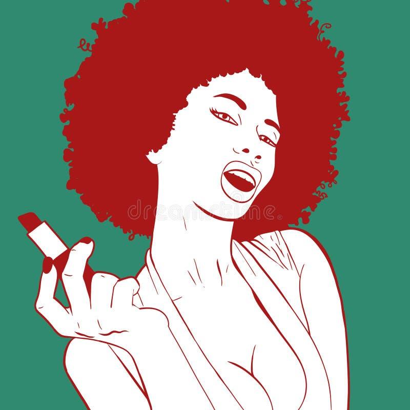 Retrato africano 'sexy' da mulher que faz sua composição Retrato da menina do pop art imagem de stock