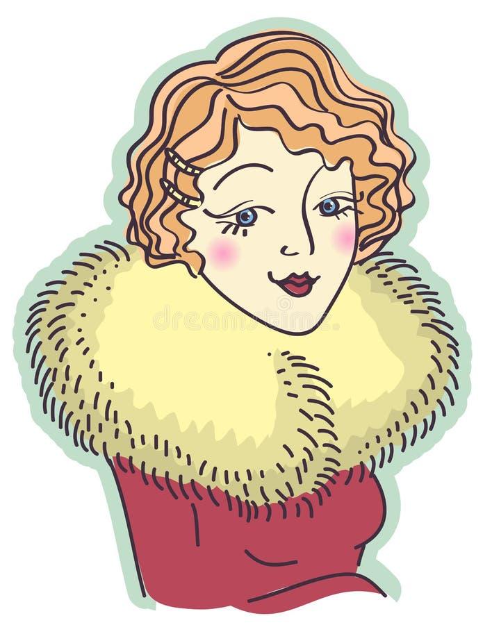 Retrato agradável da mulher do vintage. A ilustração do vetor é ilustração royalty free