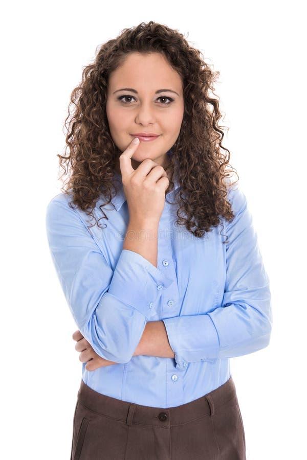 Retrato aislado de una empresaria joven para una candidatura o imagen de archivo