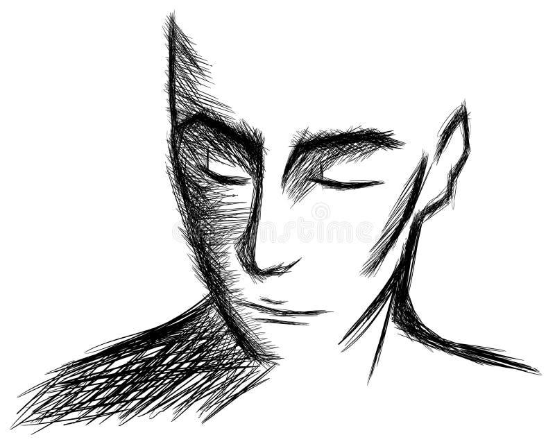 Retrato aislado del hombre artístico ilustración del vector