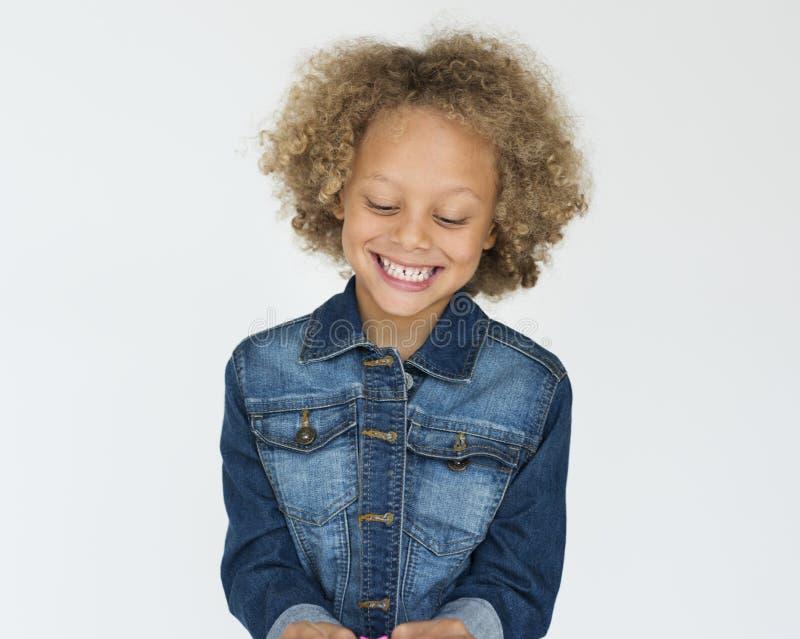 Retrato aislado niño sonriente dulce fotografía de archivo