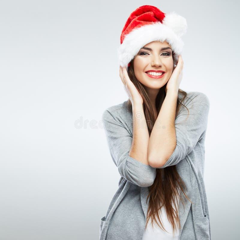 Retrato aislado sombrero de la mujer de Papá Noel de la Navidad imágenes de archivo libres de regalías