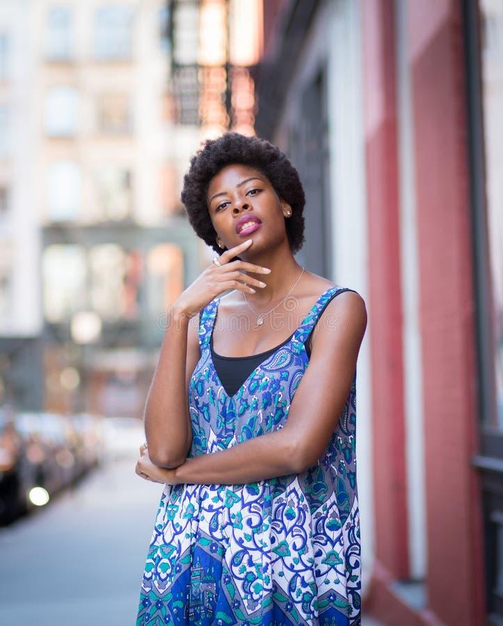 Retrato al aire libre de la mujer afroamericana de moda joven imagen de archivo