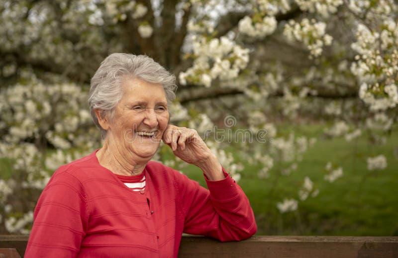 Retrato al aire libre de la mujer mayor feliz imagenes de archivo