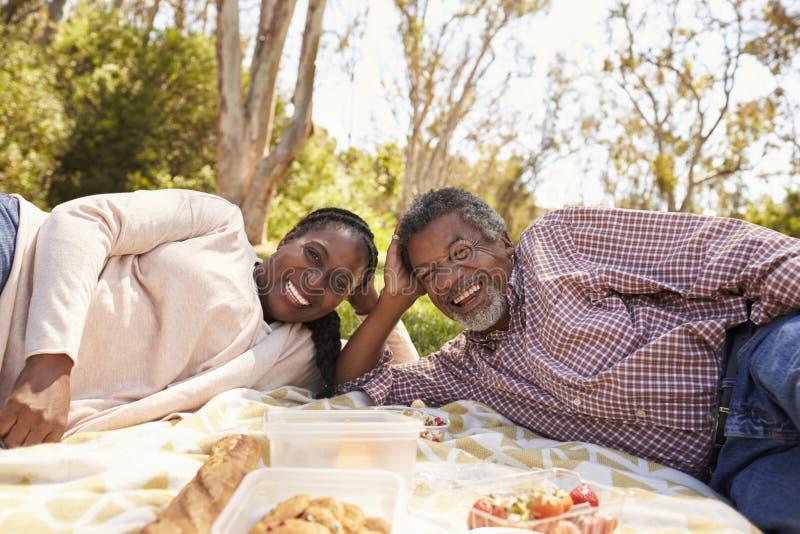Retrato al aire libre de los pares maduros que disfrutan de comida campestre en parque foto de archivo