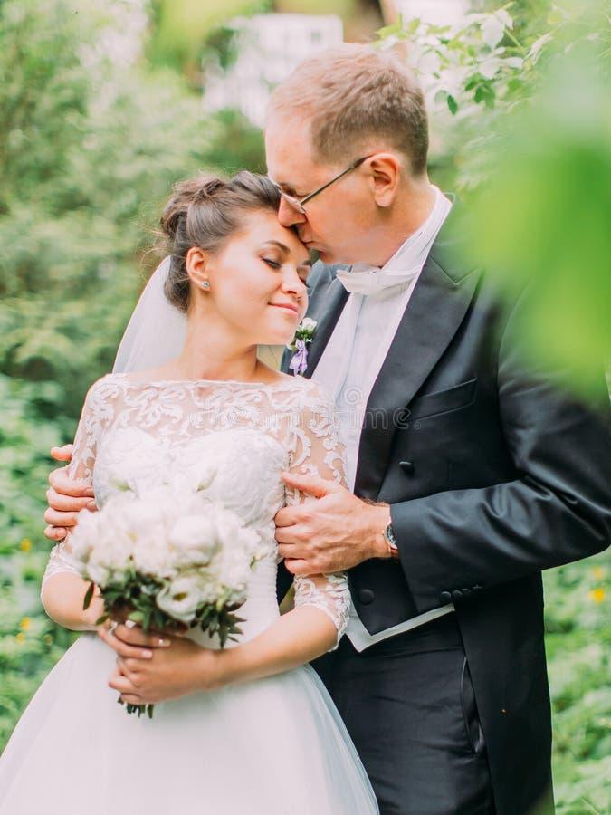 Retrato al aire libre de medio cuerpo del novio que besa a la novia en la frente en el jardín verde foto de archivo