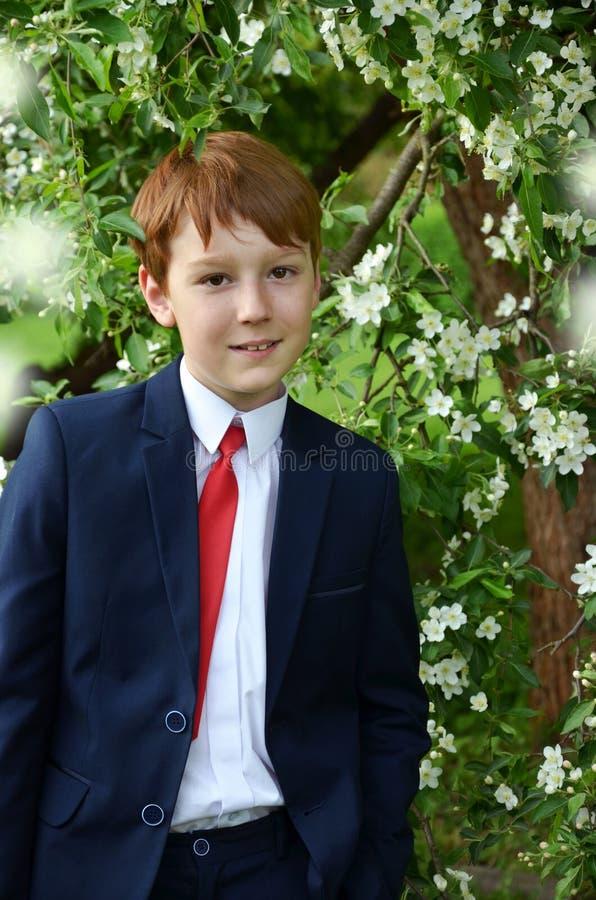 Retrato al aire libre del muchacho que va a la primera comunión santa imágenes de archivo libres de regalías