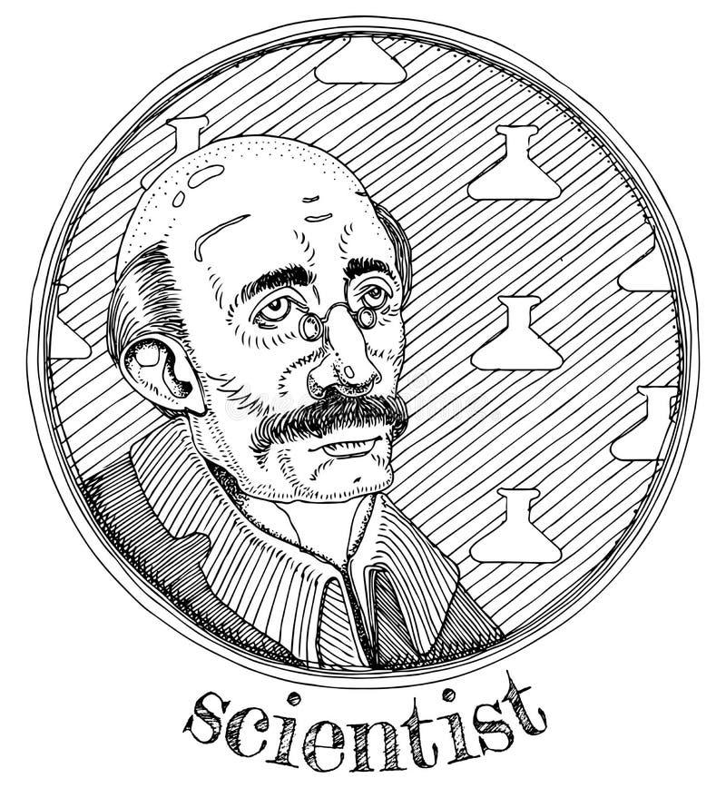 Retrato alquímico de la profesión del científico ilustración del vector