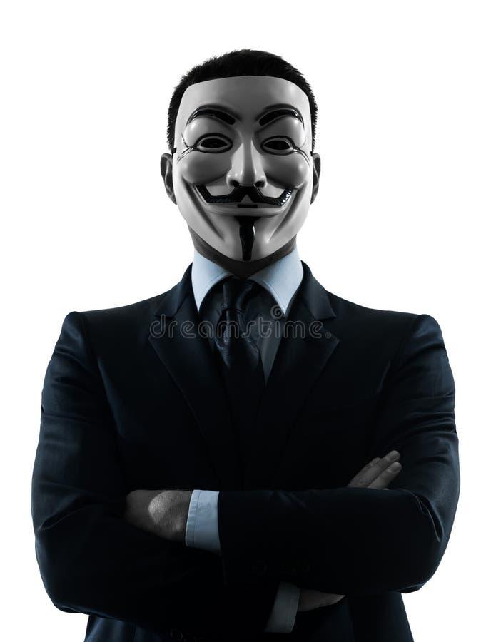 Retrato anónimo enmascarado hombre de la silueta del grupo fotos de archivo libres de regalías