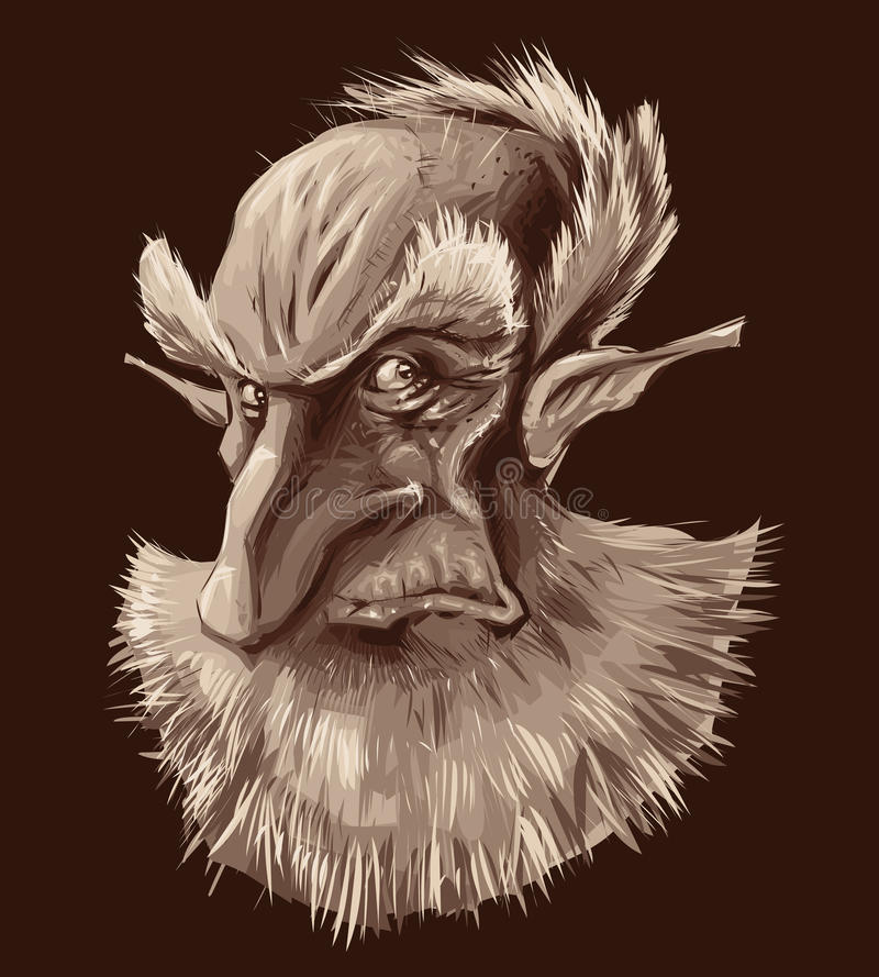 Retrato antiguo del duende ilustración del vector