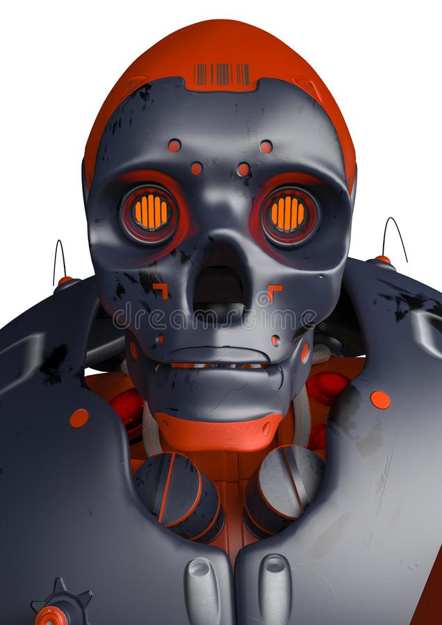 Retrato apocalíptico del perfil del robot ilustración del vector