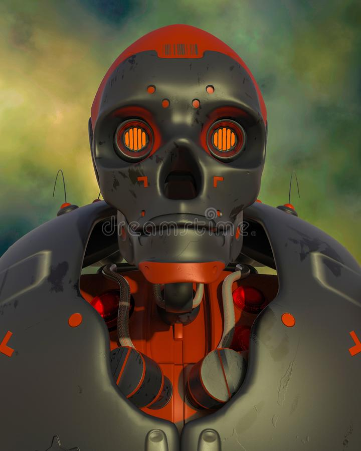 Retrato apocalíptico del robot libre illustration